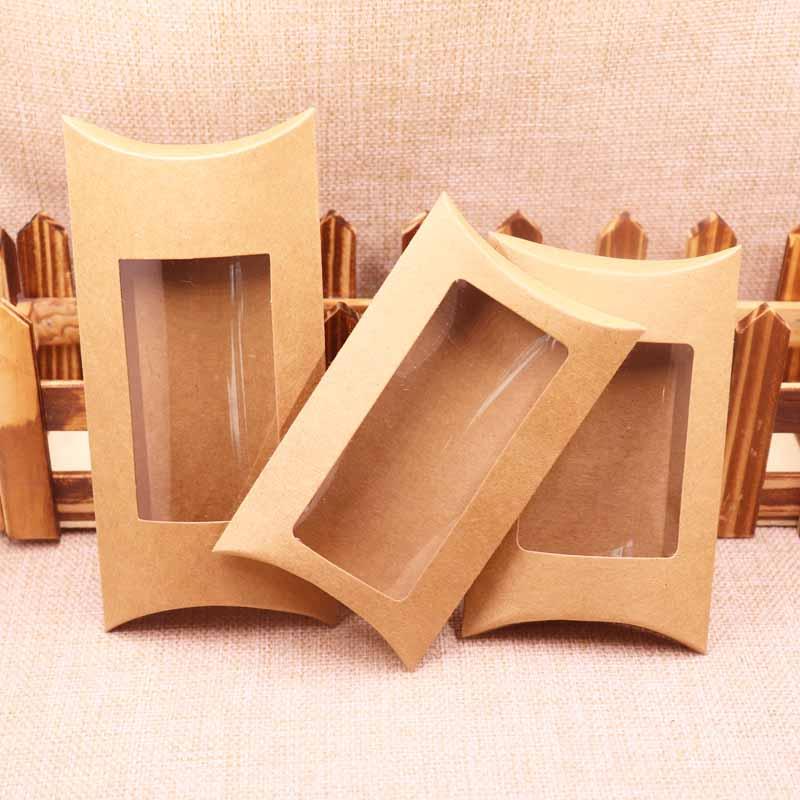 50Pcs New Style DIY Clear Kraft Paper Window Pillow Box 12.5x8x2cm /12.5x7x2cm/ 16x7.8x2.4cm Black /Kraft/Black Pvc Clear Box