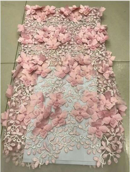 African Tulle Lace High Quality 3D flowers African Beads Lace Fabric The New Listing High Quality