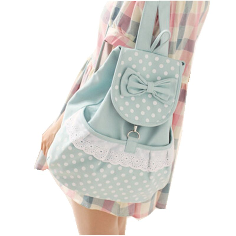 2015 Women Backpacks bow Brand school bag lace canvas Backpack dot printing travel Bags high quality