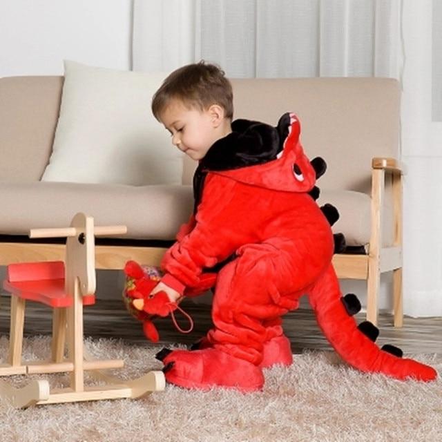 Children Boys Girls Flannel Blanket Overalls Jumpsuit Pijama Infantil Kid  Children Animal Dragon Onesie Blanket Sleeper Pajamas 14368cc59