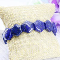 Aksesuar El Sanatları Parçaları Lapis lazuli Altıgen El Zincir Bilezik El Sanatları Boncuk Taş Yapma Takı 18 cm Oturan Kadın Uydurma