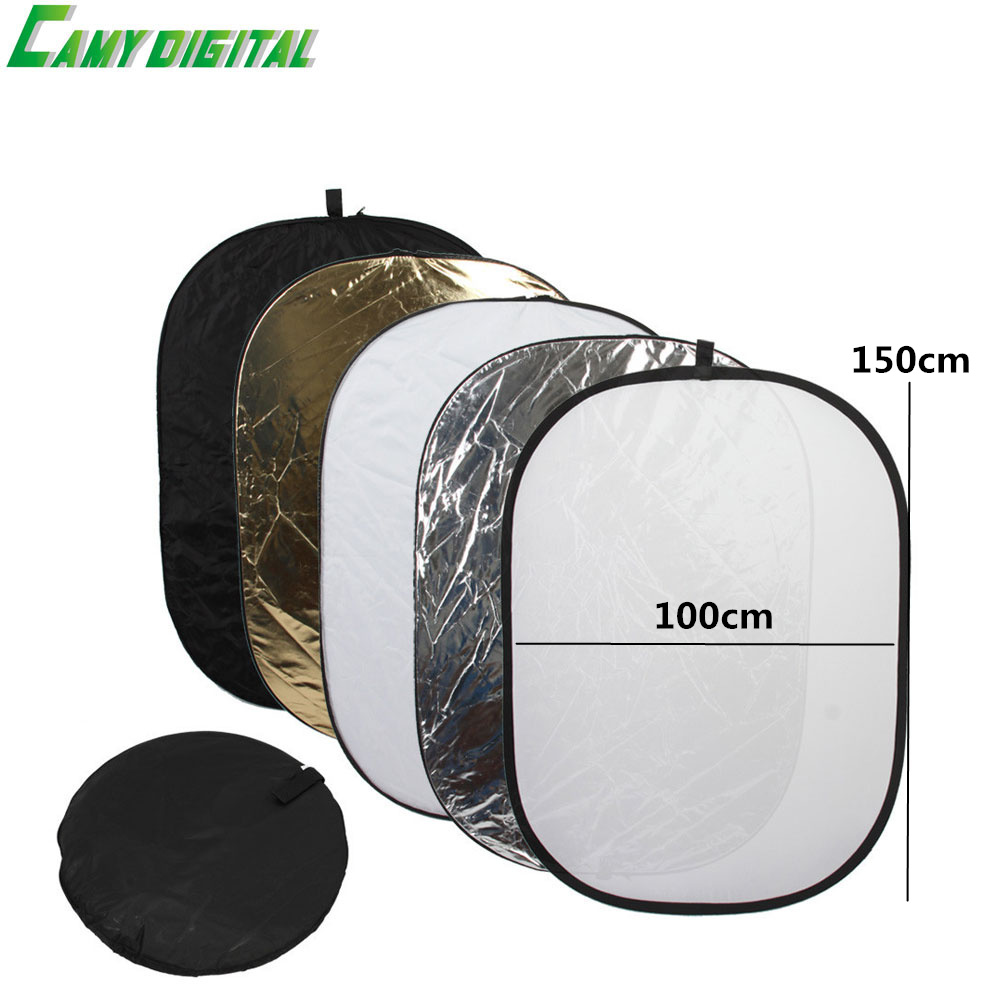 100*150CM/39x59 Studio Flash Accessories 5in1 Gold/Silver/Black/White/Translucent Reflector Board Dish Plate For photography