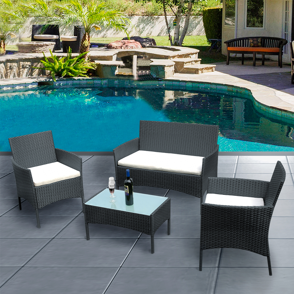 Panana Rattan Sofa Chair Table Set Of 4 Wicker Garden Furniture Lounge Coffee Table Rattan Sofa Chair Ship To US