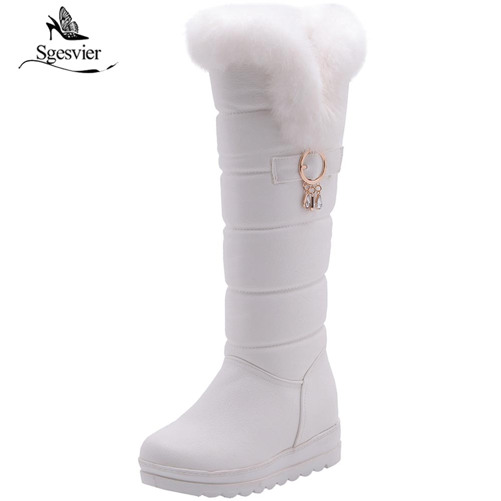 Sgesvier Knee High Boots Red Winter Shoes Warm Women Snow Boots Height Increasing Ladies Wedges Boots Plush Plus Size 42 B804