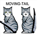 Yellow Grey 3D Cartoon Funny Cat Moving Tail Reflective Vinyl Stickers Car Styling Back Window Rear Windshield Wiper Decals