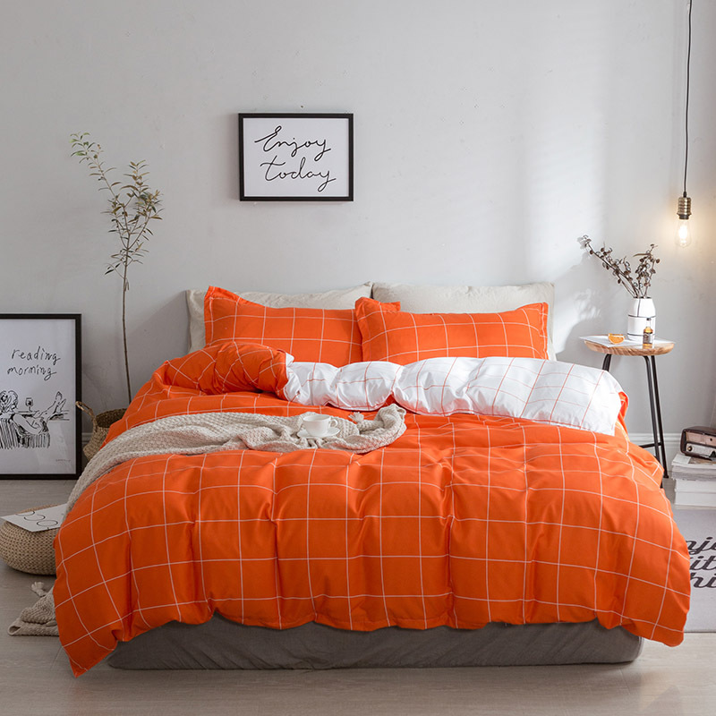 Pure orange bedding duvet cover set queen king size funda for Lit queen size