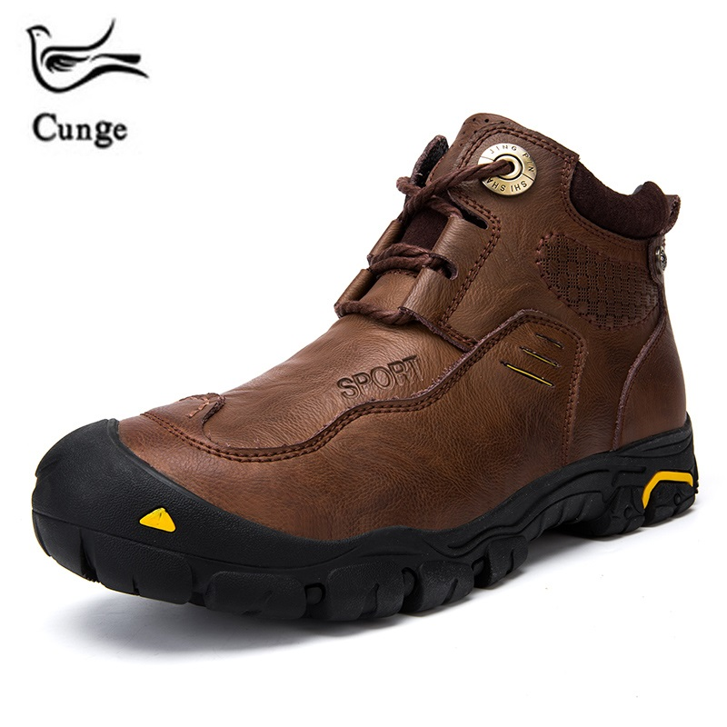 Cunge New Men Boots Winter With Fur Warm Snow Boots Men Winter Boots Work Shoes Men Footwear Fashion Rubber Ankle Shoes шифтер тормозная ручка shimano tourney tx800 правый 8 скорости трос 2050 мм черный asttx800r8a