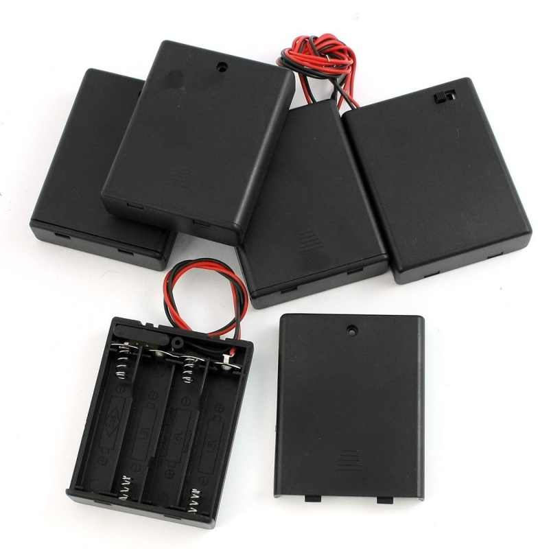 5Pcs 4 X Aaa Batterijen Batterij Houder Geval Storage W On/Off Switch
