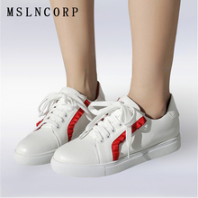 Plus Size 34-43 New Fashion Lace Up Loafers Shoes Women Casual shoes Outdoors Flat Star White Force zapatillas mujer