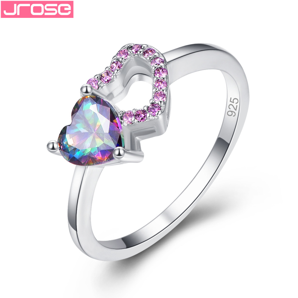 JROSE Romantic Heart Stylish Rianbow Red Cubic Zirconia Fashion Delicate Silver Ring Size 6 7 8 9 Wedding Beautiful Gifts