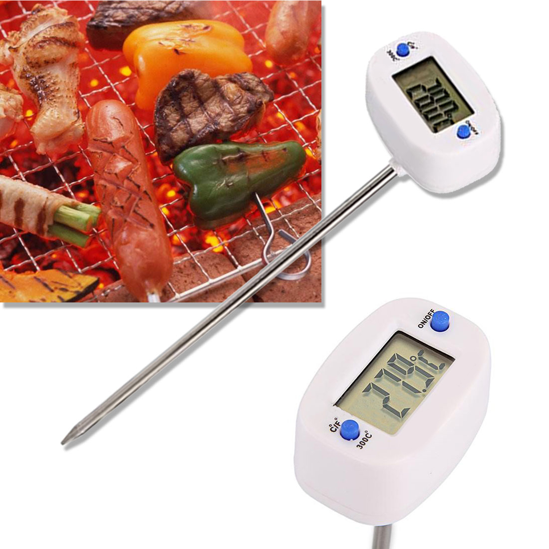 Precision Rotatable Digital Food Thermometer 1pc LCD Screen Digital Display Rotary Probe Kitchen Thermometer Electronic Probe