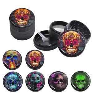 HORNET Sugar Skull Series Aluminum Herb Grinder 50MM 4 Piece Metal Tobacco Grinder Grinders Crusher Smoke Accessories