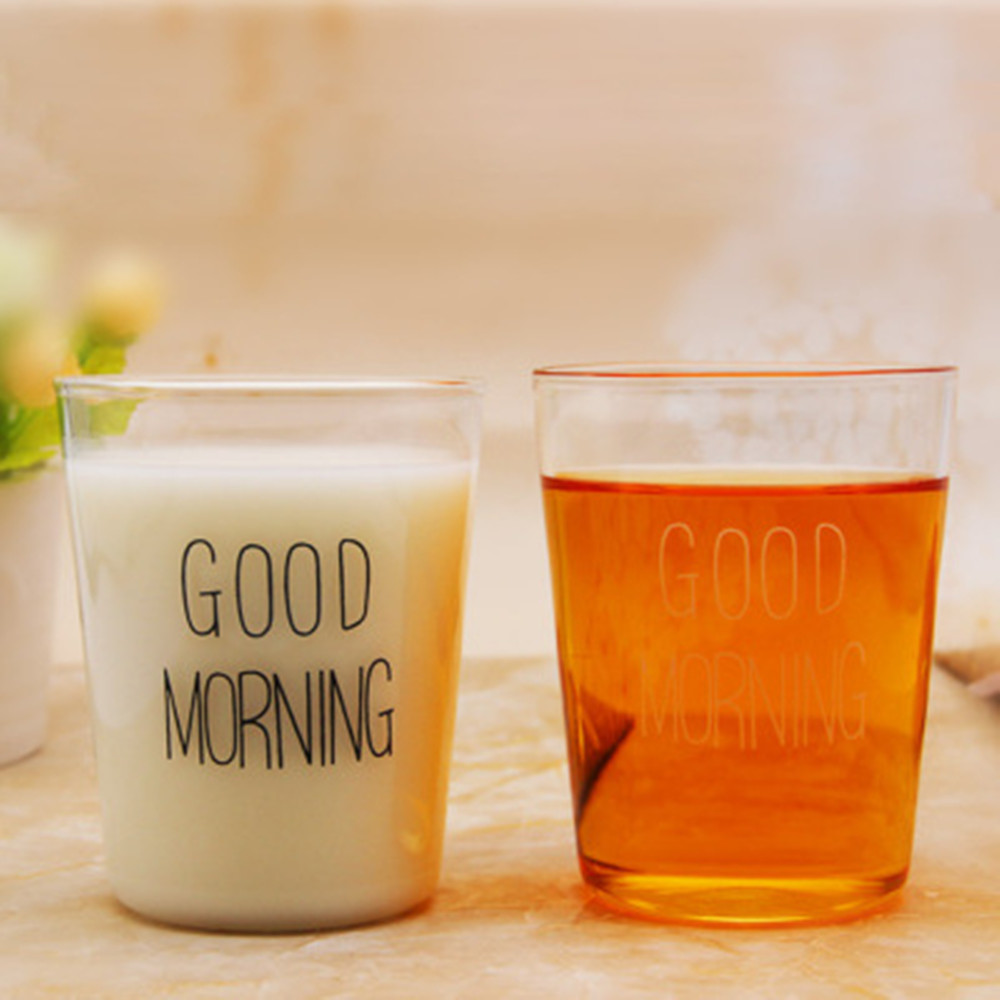 Cups and mugs hot sales Microwave oven glass breakfast cup Japanese milk juice cup Good morning cup cute coffee mugs