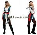 Бесплатная доставка! Хэллоуин взрослых женщин производительности одежда Для Взрослых пиратская одежда пираты платье одежда