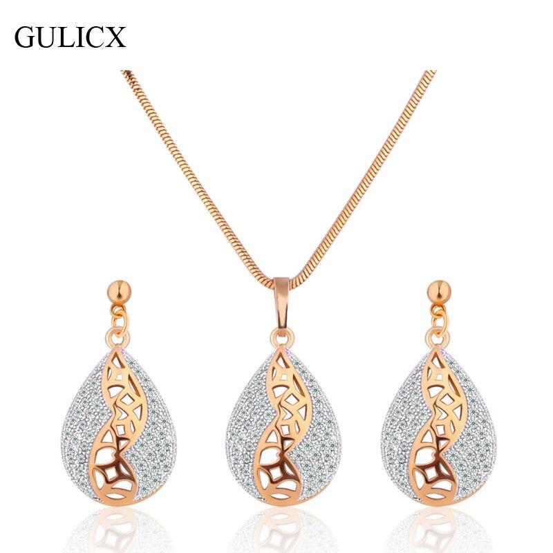 Gulicx moda oro de color conjuntos de joyas de compromiso para las mujeres de cr
