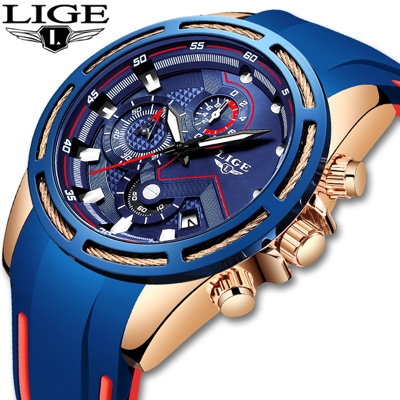 LIGE New Mens Watches Silicone Waterproof Watch Men Top Brand Luxury Military Sport Clock Quartz Wristwatch Relogio Masculino