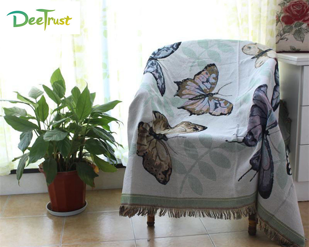 Cotton Europe Colour Butterfly Thicken Blanket Fashion Throw on Sofa/Bed Blanket Table/Plane Decorative Blanket Piano Cover