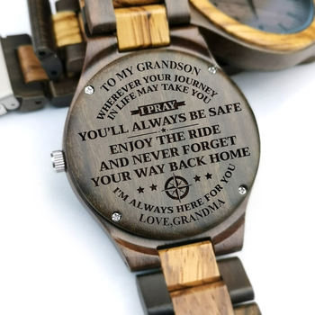 To My Grandson-Engraving Quartz Automatic Wooden Watch Birthday Gift Men Watch Wood Gifts Personalized Watch Wrist Watches redear top quality wood men watch automatic zebra wood and ebony black watch the best gift for man without logo