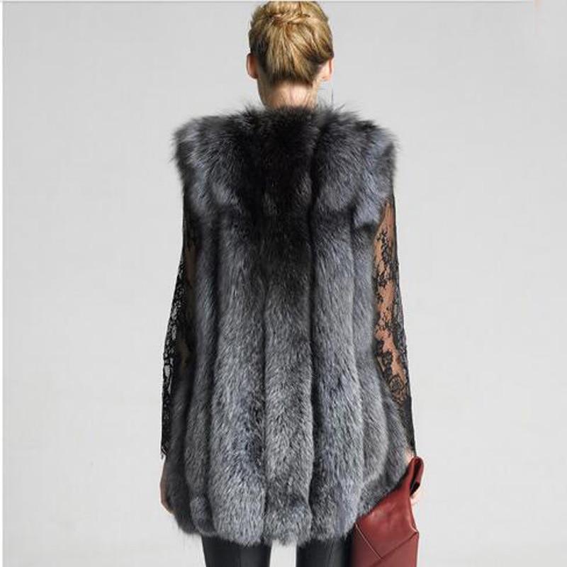 Di Femminile Volpe Donne Pelliccia Gilet Visone Grigio 2017 Lunga Moda Mujer Faux Slim Inverno Colore Furry Abrigos q57SAA