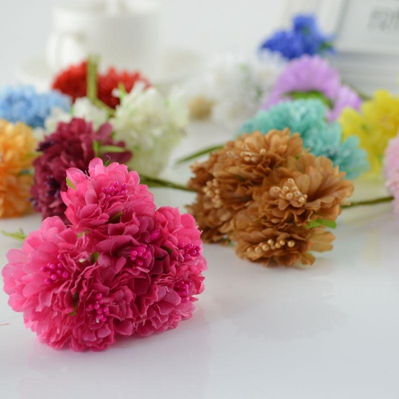 6pcs silk Carnations Artificial flowers for wedding decoration handicraft DIY Bride bouquet Decorative Gift Scrapbooking wreath