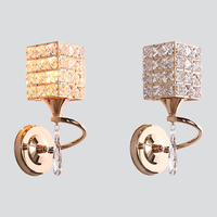 Novo design cilíndrico quadrado estilo cristal abajur lâmpada de parede europeu minimalista tira/ouro única cabeça arte e27 parede luz|Luminárias de parede| |  -
