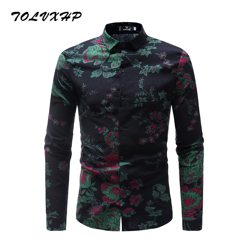 New Arrival Mens Hawaiian Shirt 2018 Male Casual Camisa Masculina Printed 13 Colors Beach Shirts Long Sleeve Brand Clothing 3XL