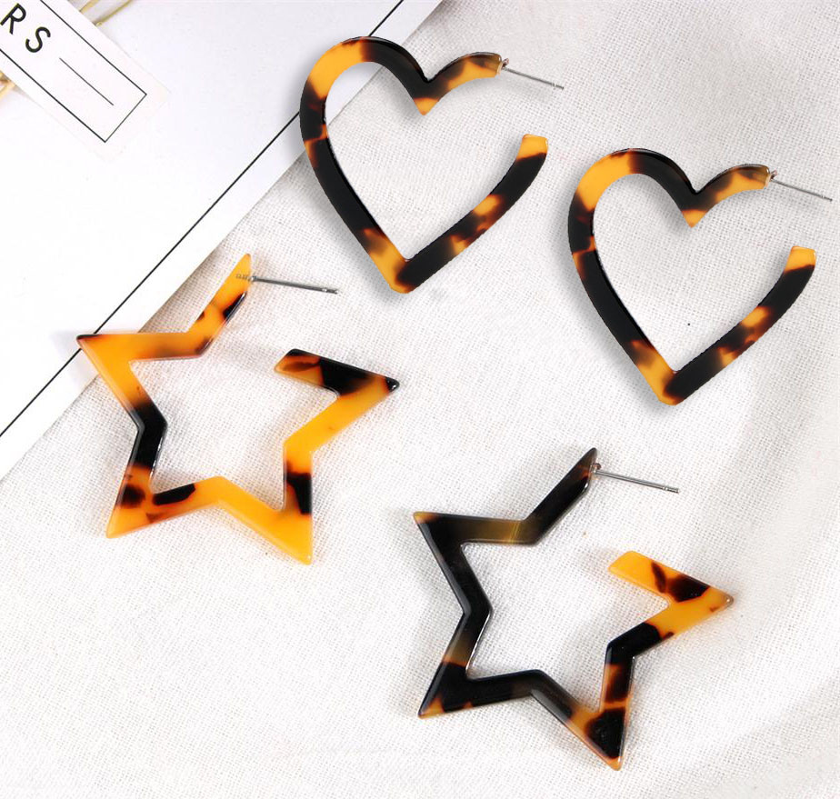 Zerotime #H5 2019 FASHION Acrylic Resin Edition Earrings Leopard Acrylic Earrings Серьги star heart shapes daily Free shipping