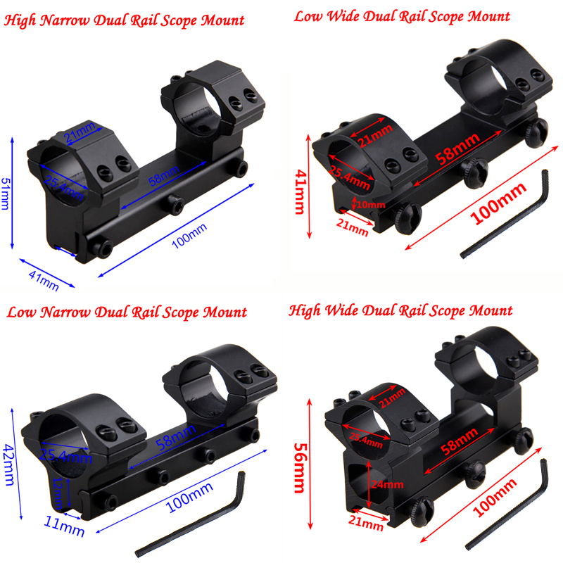 Tactical Scope Dovetail Mount Dual Rail High Low Wide Narrow Ring Rifle Optical Sight Bracket Scope Mount Adapter+Hex Wrench
