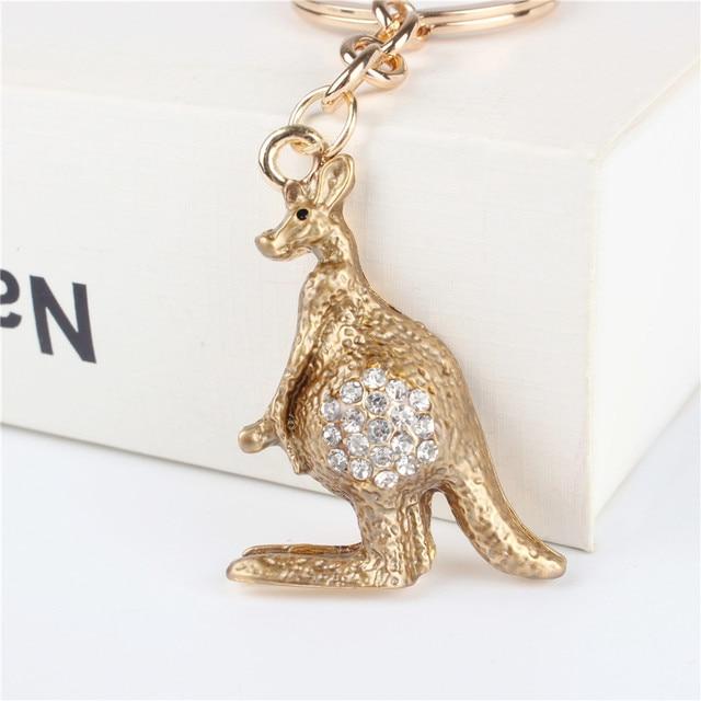 Kangaroo Pendant Charm Rhinestone Crystal Purse Bag Keyring Key Chain Accessories Wedding Party Holder Keyfob Gift