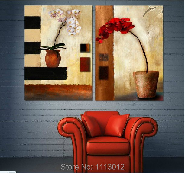 100% Handmade 2 Pcs Set Abstract Red Lily Oil Painting On Canvas Flower Picture Home Wall Decoration Art Modern For Living Room