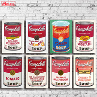 Andy warhol 8 SZTUK zestaw campbell-s-zupy-can-wołowina Drukuje obraz olejny Malarstwo na płótnie bez ramki Zdjęcia Decor Dla Pokoju Gościnnego