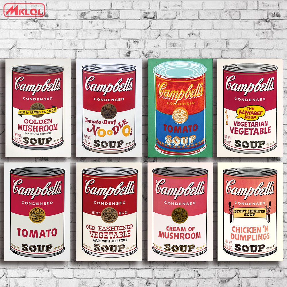Andy warhol 8 PCS set campbell-s-soup-can-beef oil painting Prints Painting on canvas No frame Pictures Decor For Living Room image
