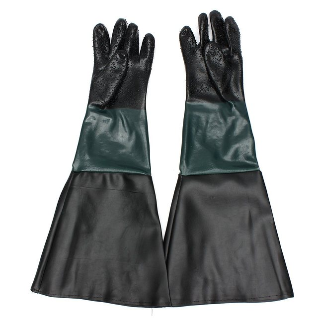 "NEW A Pair PVC 23.6"" Sandblasting Gloves for Sandblaster Sand Blast Blaster Cabinet Safety Glove"