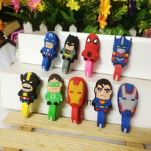 NEW 100pcs Avengers Marvel Superman Batman Headphone Winder Earphone Cord Wrap Organizer Wire Holder Home Office Storage Clips(China)