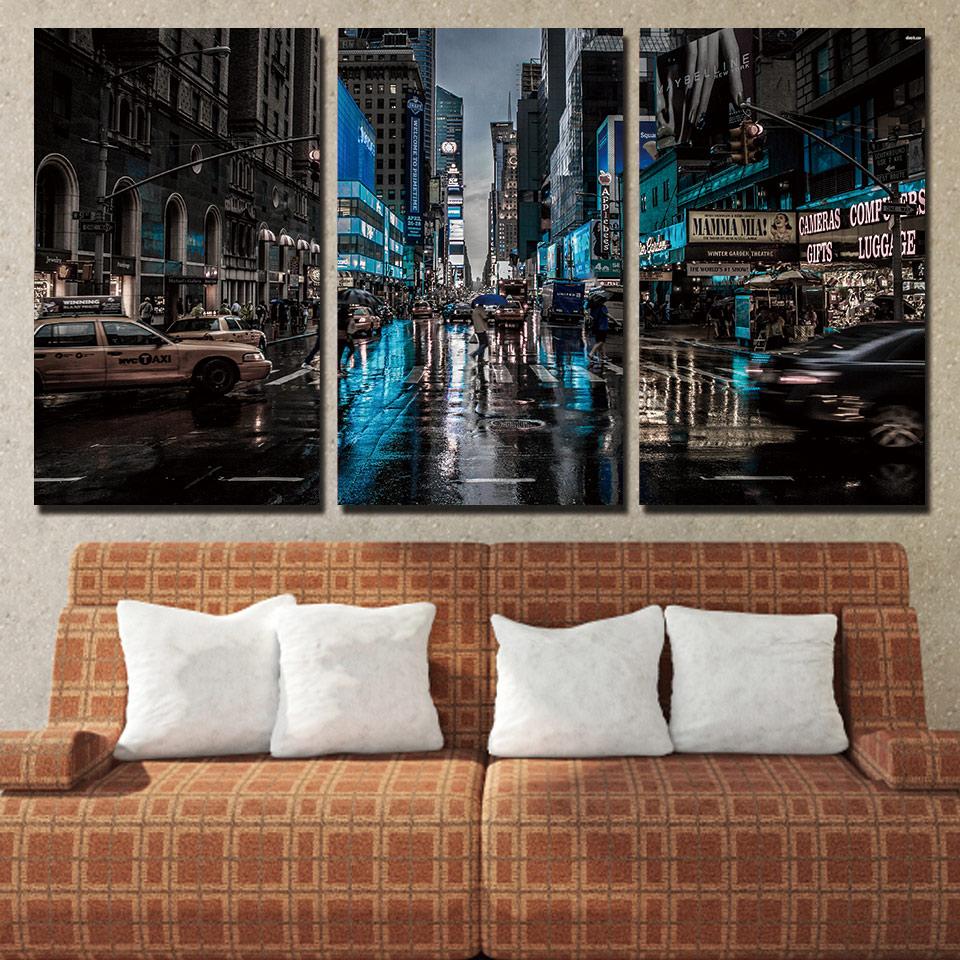 Platno Dnevna soba slike Domača dekoracija 3 plošča New York City - Dekor za dom