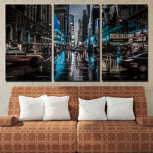 Płótno Salon Zdjęcia Home Decor 3 Panel Nowy Jork Noc Malowanie Wall Art Modułowa struktura plakatowa HD Wydrukowano Modern