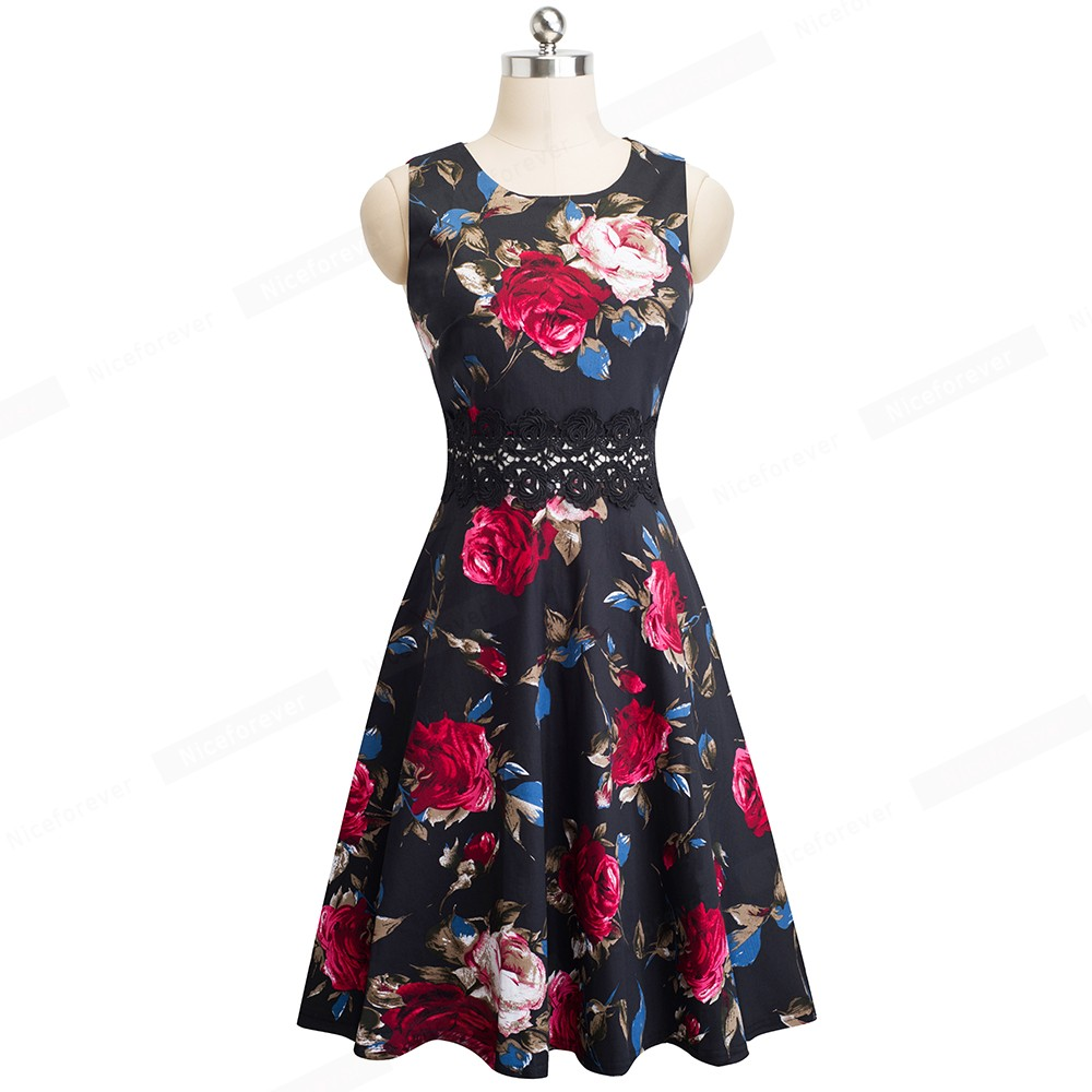 Nice-forever Vintage Elegant Embroidery Floral Lace Patchwork vestidos A-Line Pinup Business Women Party Flare Swing Dress A079 55