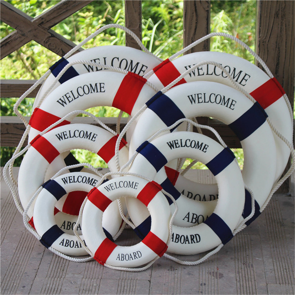 Welcome Aboard Nautical Life Lifebuoy Ring Boat Wall Hanging Home Decoration Mediterranean Style