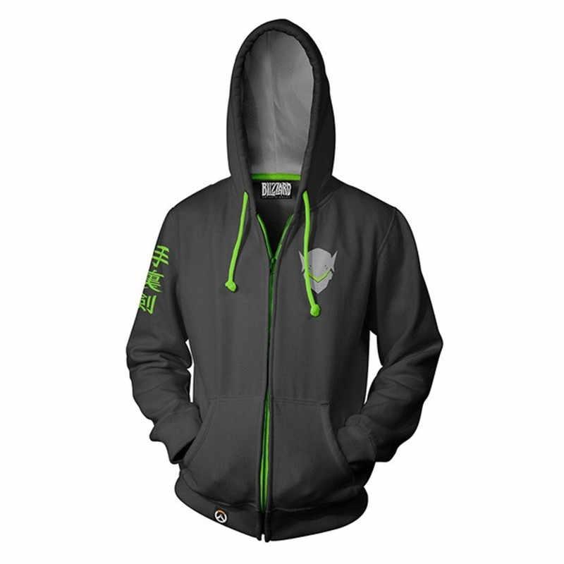 2019 ฮาโลวีนเครื่องแต่งกาย Overwatch Hooded Sweatshirts Genji DV.Lucio Full Zip Hoodies Cool Pullover เสื้อคอสเพลย์