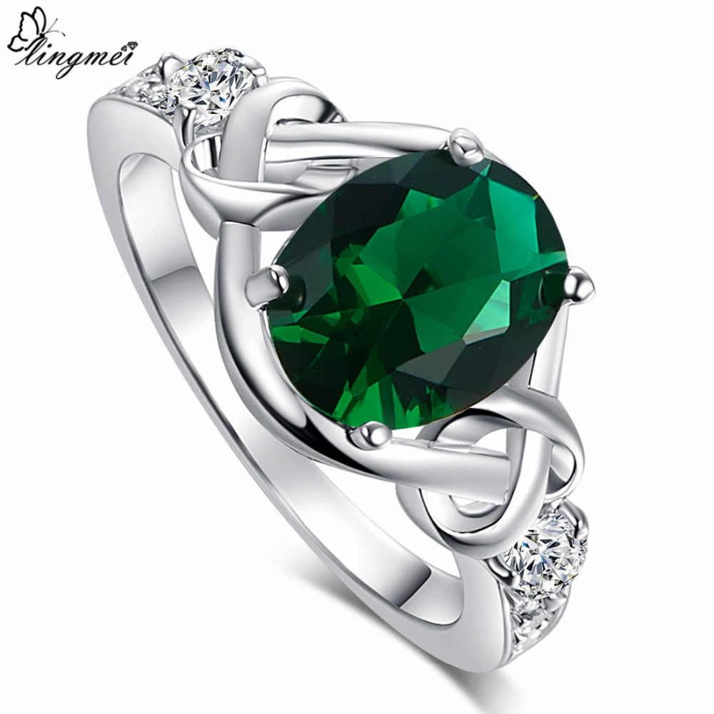 Lingmei Clearance ขายแฟชั่นงานแต่งงาน Multicolor สีฟ้าสีเขียวสีขาวสีขาวทองแหวนขนาด 6 7 8 9 10 ครบรอบ
