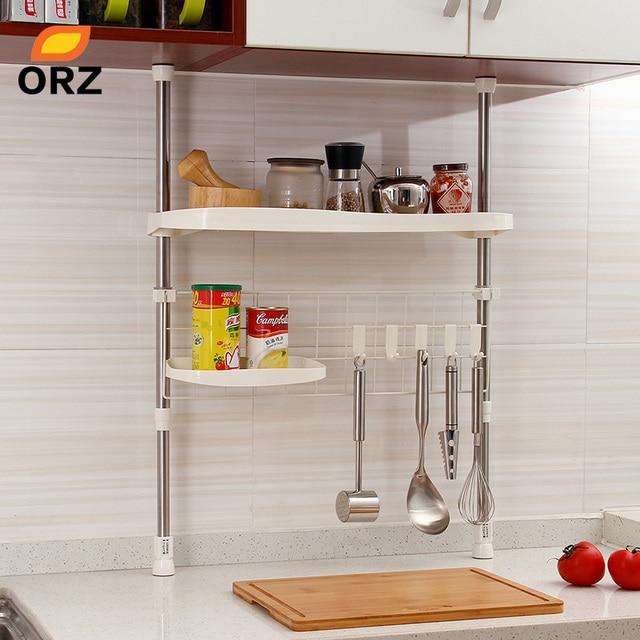 pot racks for kitchen rug runners orz adjustable shelf creative seasoning condiment holder cooking utensil hanger organizer storage rack