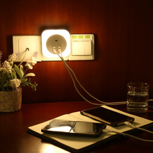 Wall Plug 2 USB Phone Charger with LED Light MDS01 Multi-function Motion Sensor