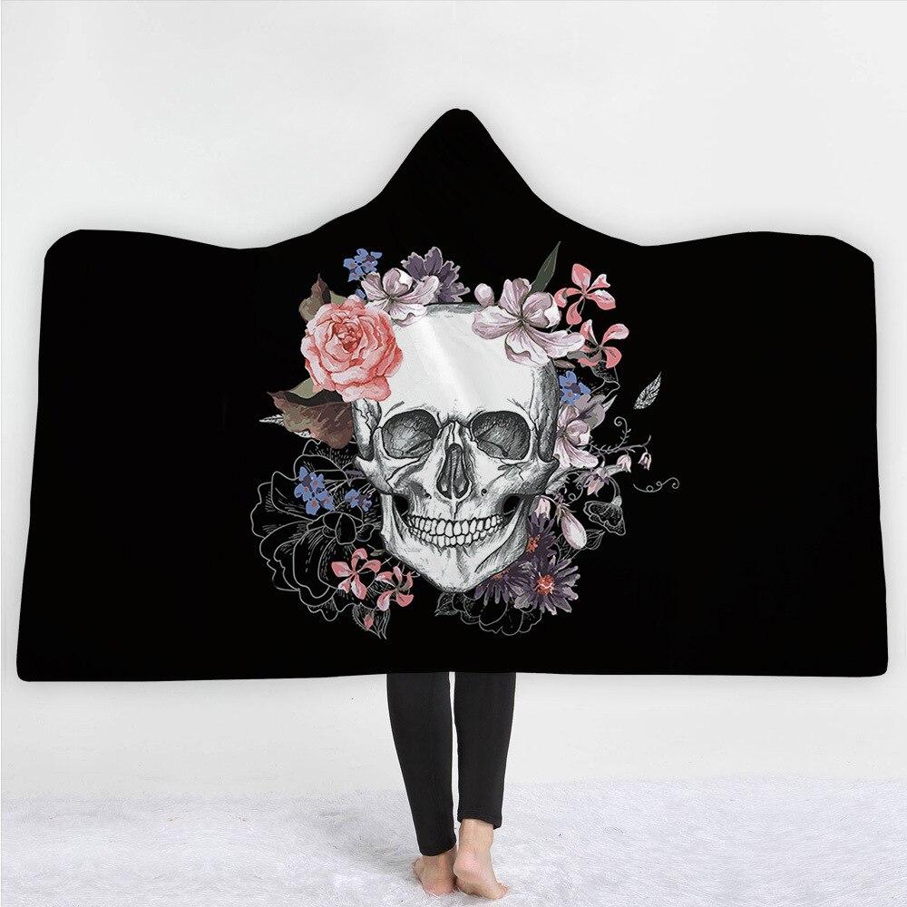 Horreur crâne en peluche à capuche couverture pour adulte Poncho Manta Para canapé polaire Deken portable jeter Manta canapé couverture