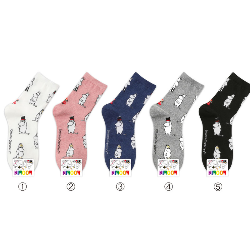 2019 Mumin Moomin Corta Vento Pantoufles D'ete Femme Momine Foot Cover Female Cute Cotton Street Hip Hop White Sox 1pair Women