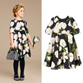 European Girl's Short Sleeve Tulips patterned A-Line Dress 110-160cm Children's Dress