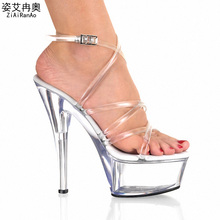 Summer Transparent Crystal Women Pumps 5CM Party Wedding Platform Gladiator Shoes Woman Sandals 15CM High Heels Big Size