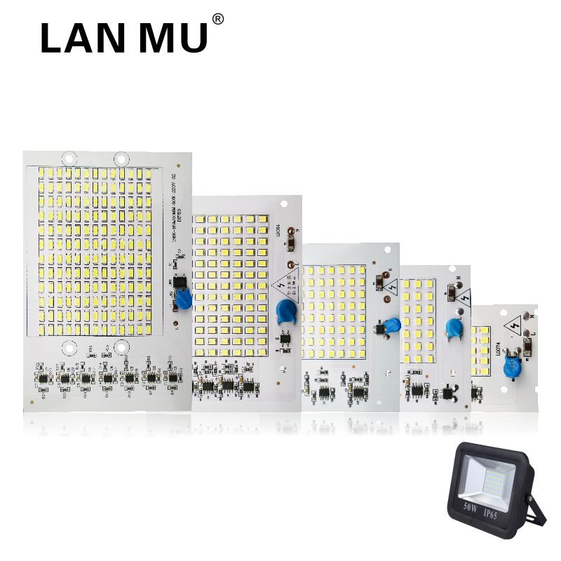 LAN MU LED Lamp Chips 220V SMD Bulb 2835 5730 Smart IC Led Light Input 10W 20W 30W 50W 90W For Outdoor FloodLight lan mu 220v flame fire light led bulb