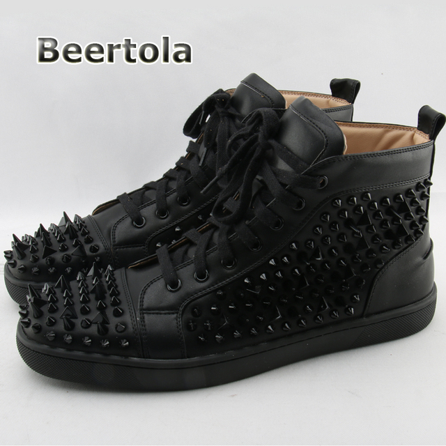 Beertola Designer Men Spike Shoes Genuine Leather Casual Shoes Mens Spikes  High Top Sneakers Rubber Sole Rivet-Studded-Shoes-Men c99d417e1d88