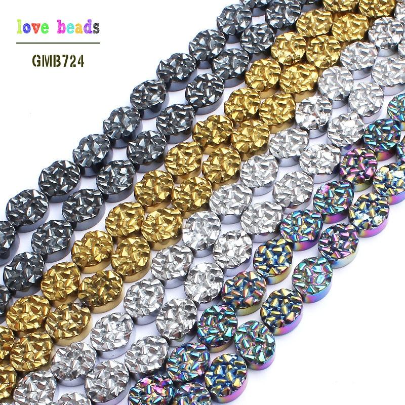 Hematite earrings. Hematite beads. Symbolic beads. Three stone  |Hematite Beads