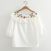 Slash Neck Spring Fresh Flowers Embroidery White Cotton Half Sleeve Shirt Top Mori Girl